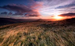 日落, 领域, 篱笆, 景观