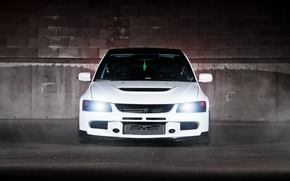 Mitsubishi, Evolution, white, shadow, reflections, Mitsubishi