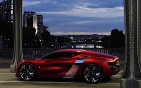 машины, авто, рено, красный, мост, город., Renault