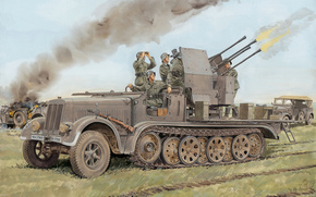picture, The German, Antiaircraft, self-propelled, installation, (ZSU), On the basis of, Halftrack, Tractor