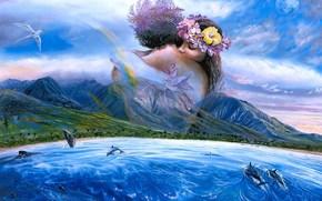 disegno, coppia, Lovers, marina, mare, costa, Montagne, palma, Dolphins, uccello, pittura