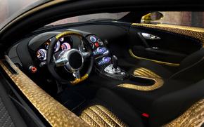 Car, Bugatti Veyron, sports car, salon, Steering wheel, panel, devices, skin, gold, bugatti