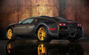 Car, Bugatti Veyron, sports car, body, Carbon, gold, design, reflection, bugatti