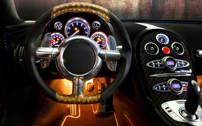 Car, Bugatti Veyron, sports car, salon, Steering wheel, panel, devices, design, bugatti