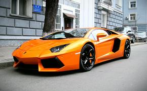 ламборджини, оранжевый, авентадор, суперкар, Lamborghini