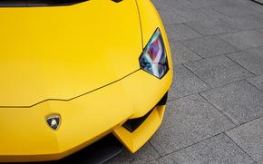 суперкар, спорткар, ламборджини, авентадор, желтый, фара, Lamborghini