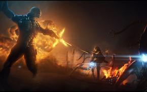 Солдат, броня, выстрелы, лазерный прицел, монстры, пламя, взрыв