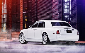 Rolls Royce, Phantom, white, back view, Street, Other brands