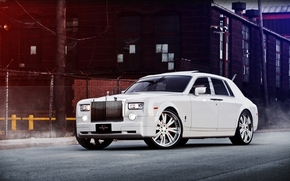 Rolls Royce, Phantom, front view, white, building, fencing, Other brands