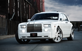 Rolls Royce, Phantom, white, front, lights, sky, clouds, Other brands