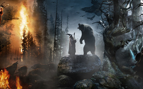 Hobbit, un viaggio inaspettato, Gandalf il Grigio, Il Signore degli Anelli, Bilbo, Hobbit, sopportare, collage, foresta, fuoco, fuoco, spada, personale, Pungiglione, calabrone, pietre, pietre rotonde, cappello, corvino, Lupi, animali