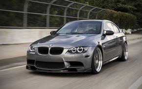 бмв, серебристый, купе, дорога, размытие, дневной свет, BMW