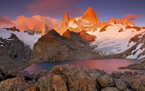 Mountains, snow, lake