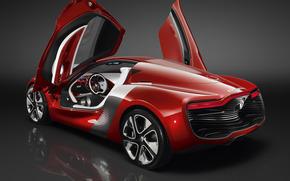 машины авто рено, красный, откидные, двери, салон., Renault