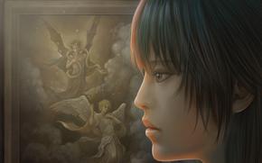 picture, angel, devil, Horn, snake, sky, Men, girl, close-up