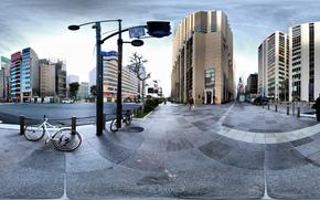 Панорама, улица, Япония, Токио, дома, высотки, велик, дороги