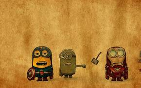 despicable avengers, The Avengers, Minions, The Avengers, hulk, Captain America, man of iron, Top
