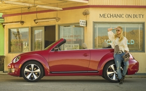 Volkswagen, scarafaggio, cabriolet, rosso, vista laterale, ragazza, carica, finestre, sfondo, Volkswagen