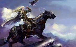 арт, парень, зверь, всадник, птица, эльф, хищник, орел