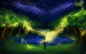 арт, ночь, деревья, человек, огоньки, искры, светлячки, озеро, трава