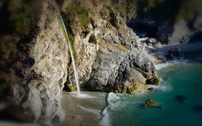 США, водопад, скалы, берег