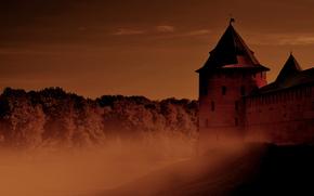fortress, fog, city, old man, Russ, Russia, Veliky Novgorod