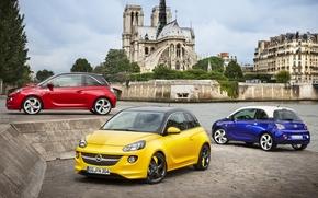 Опель, Адам, хетчбек, передок, вид сбоку, вид сзади, желтый, красный, синий, город, небо, фон, Opel