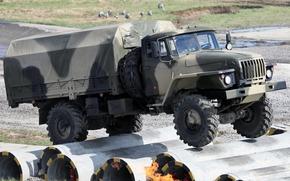 ural, camion, militare, anteriore, test, sfondo, Altre macchine e attrezzature