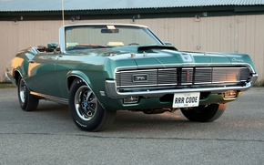 Mercury, cougar, Cabriolet, zelenyy.peredok, muscle car, background, Other brands