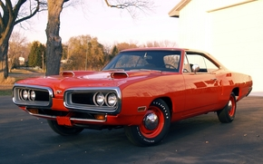 Dodge, coronet, hardtop, compartment, front, orange, muscle car, Trees, background, Dodge