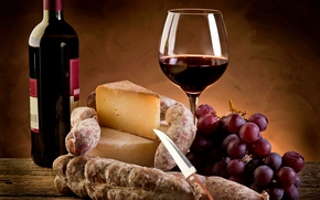 sausage, wine, bottle, cup, glass, cheese, grapes, salami, sausage, wine, bottle, cup, glass, cheese, grapes, salami