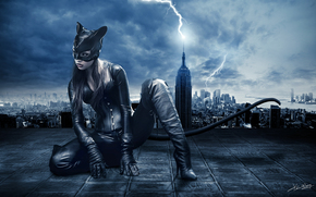 girl, night, city, Cat Woman, suit, ears, tail, mask, lightning