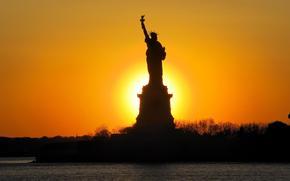 Statue of Liberty, New York, USA, sunset, dawn, sky