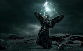 rocks, stones, girl, wings, angel, skull, sky, clouds, lightning, storm