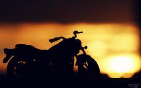 мотоцикл, закат, дух заката, море, лучи, солнце, контраст, Мотоциклы