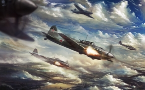 Art, aircraft, World War II, city, attack, ATTACK, fire, clouds, river