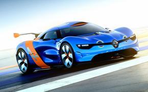 Автомобиль, Обоя, Рено, Альпина, Концепт, Синяя, Машина, Renault