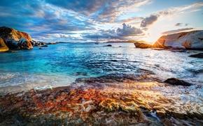 mare, alba, Rocks, paesaggio