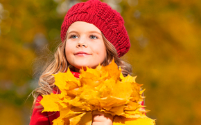 small, girl, autumn, leaves, little, girl, autumn, leaves