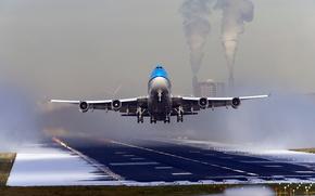 Боинг, самолет, аэропорт, полоса, взлет
