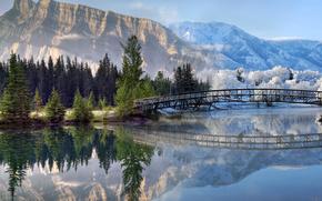 estate, inverno, Stagioni, stagioni, Photoshop, foresta, Montagne, neve, verdura, ponte, fiume, riflessione, paesaggio