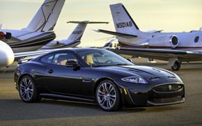Ягуар, ИксКей, суперкар, чёрный, передок, самолёты, фон, Jaguar
