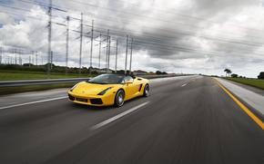 Lamborghini, Gallardo, amarillo, cabriol, carretera, velocidad, disposicin, golpear, Pilares, lnea de transmisin, Lamborghini