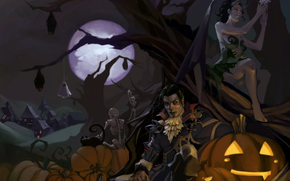 Art, Halloween, vampire, daemon, demonessy, Skeletons, night, tree, Pumpkin, moon, cat, Bats, village