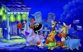 Хэллоуин, Винни Пух, друзья, радость, конфеты, ночь, дом, огни