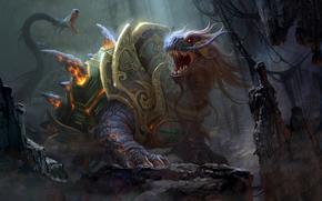 drago, conchiglia, rabbia, grotta, serpente, scramble