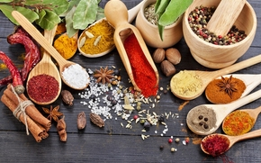 spices, seasoning, bowls, pepper, red, nut, muscat, cinnamon, anise, cumin