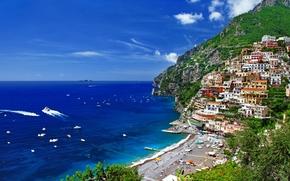 Italia, Montaas, casa, Los rboles, Naturaleza, mar, costa, personas
