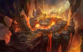 Art, cave, rocks, fire, lava, statue, people, man