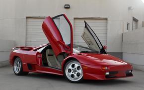 Lamborghini, Diablo, red, front view, Door, guillotine, building, Blinds, Lamborghini